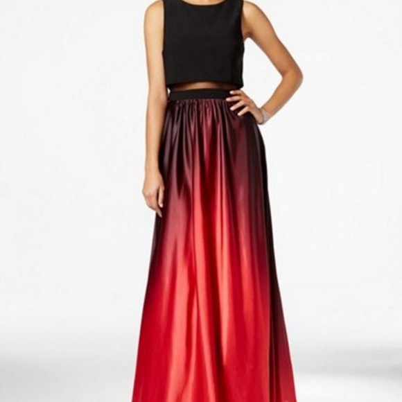 51f68b8f1d9 Betsy   Adam Illusion Red Black Ombre Gown 4 NWT